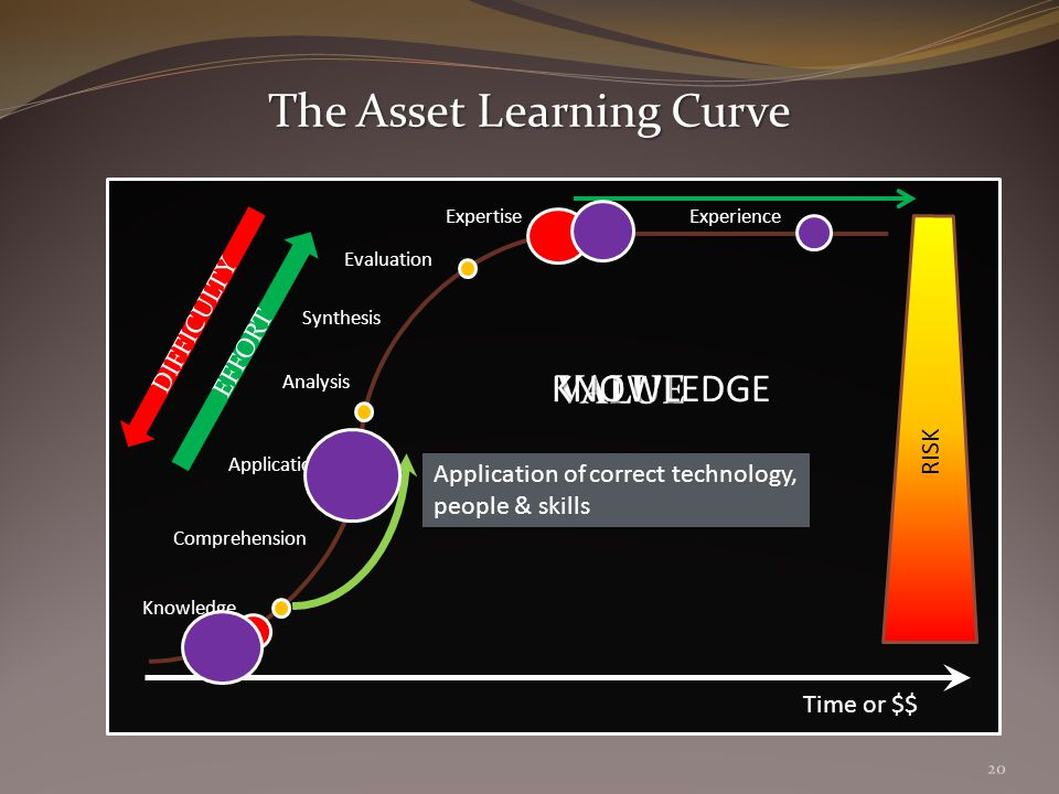 EFFORT Time or $$ Knowledge Comprehension Application Analysis Synthesis Evaluation Expertise Experience DIFFICULTY Application of correct technology, people & skills VALUE RISK The Asset Learning Curve KNOWLEDGE 20