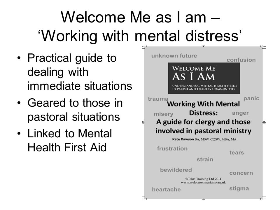 Welcome Me as I am – 'Working with mental distress' Practical guide to dealing with immediate situations Geared to those in pastoral situations Linked to Mental Health First Aid