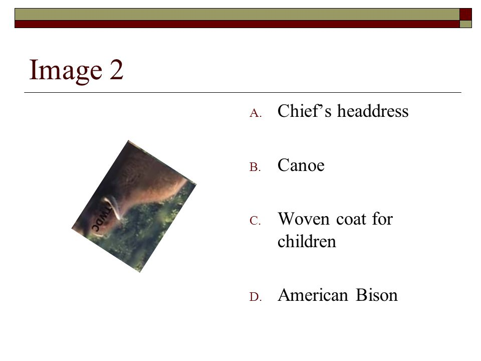Image 2 A. Chief's headdress B. Canoe C. Woven coat for children D. American Bison