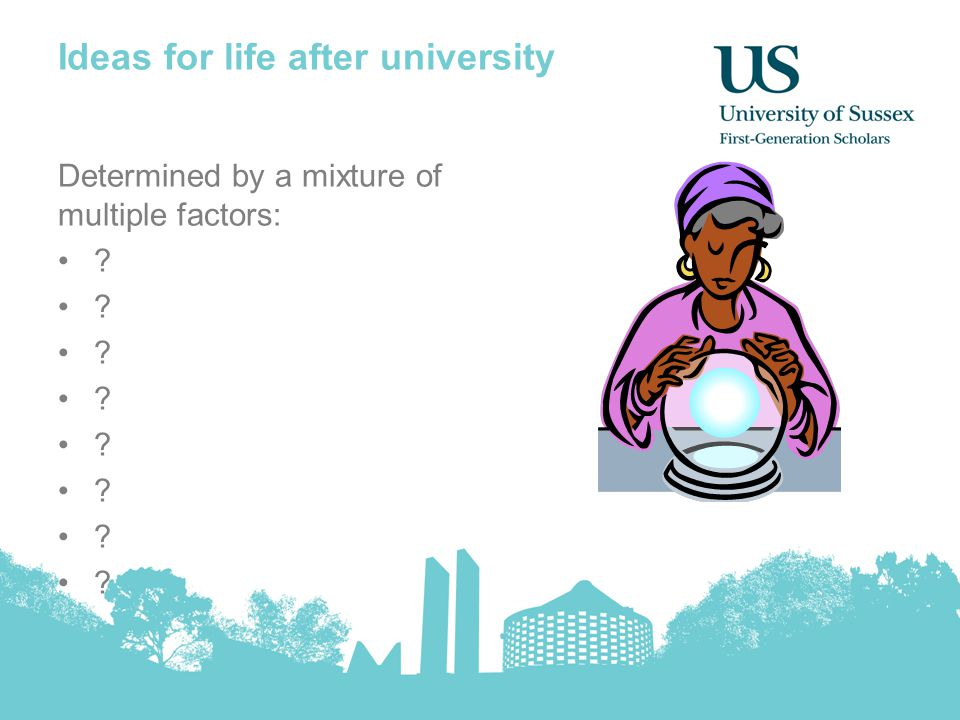 Ideas for life after university Determined by a mixture of multiple factors: