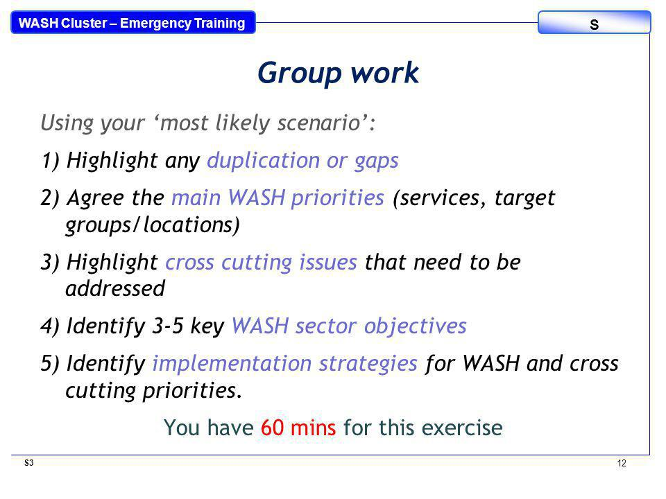 WASH Cluster – Emergency Training S Using your 'most likely scenario': 1) Highlight any duplication or gaps 2) Agree the main WASH priorities (services, target groups/locations) 3) Highlight cross cutting issues that need to be addressed 4) Identify 3-5 key WASH sector objectives 5) Identify implementation strategies for WASH and cross cutting priorities.