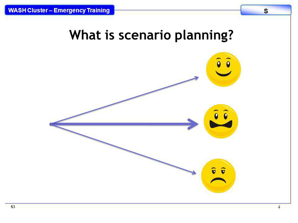 WASH Cluster – Emergency Training S S3 4 What is scenario planning