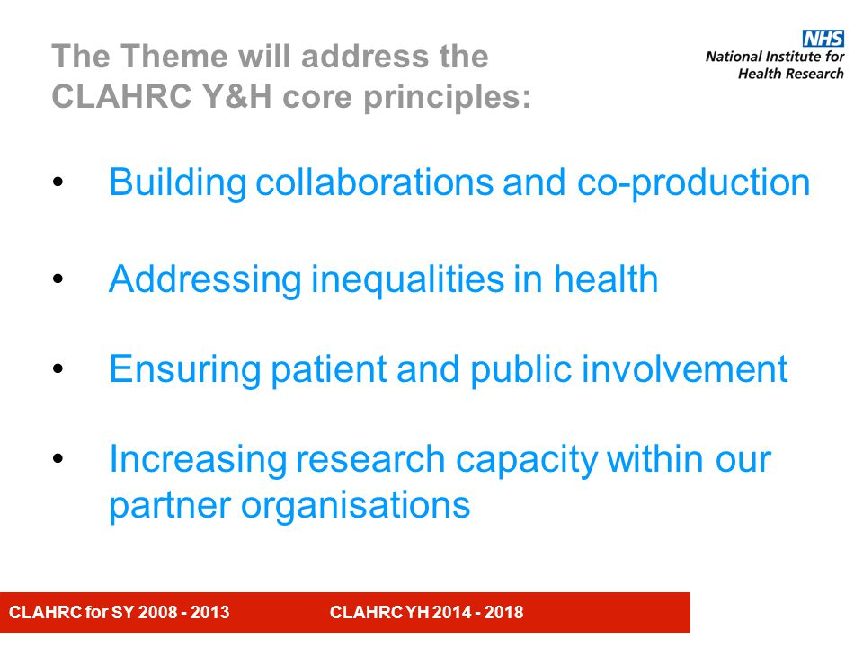 CLAHRC for SY CLAHRC YH The Theme will address the CLAHRC Y&H core principles: Building collaborations and co-production Addressing inequalities in health Ensuring patient and public involvement Increasing research capacity within our partner organisations