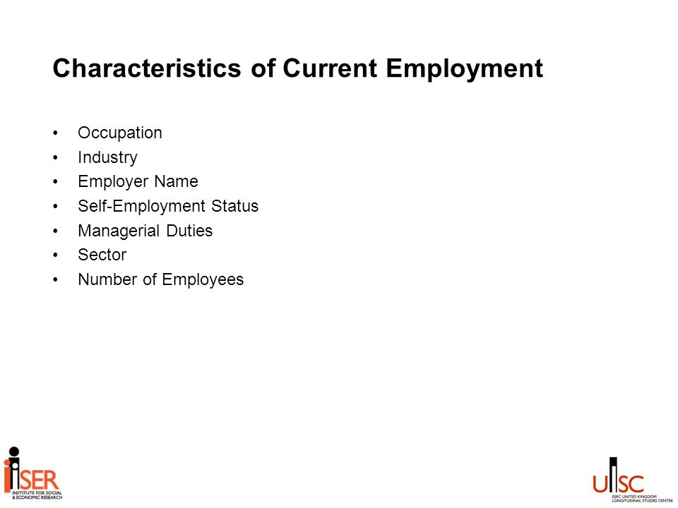 Characteristics of Current Employment Occupation Industry Employer Name Self-Employment Status Managerial Duties Sector Number of Employees