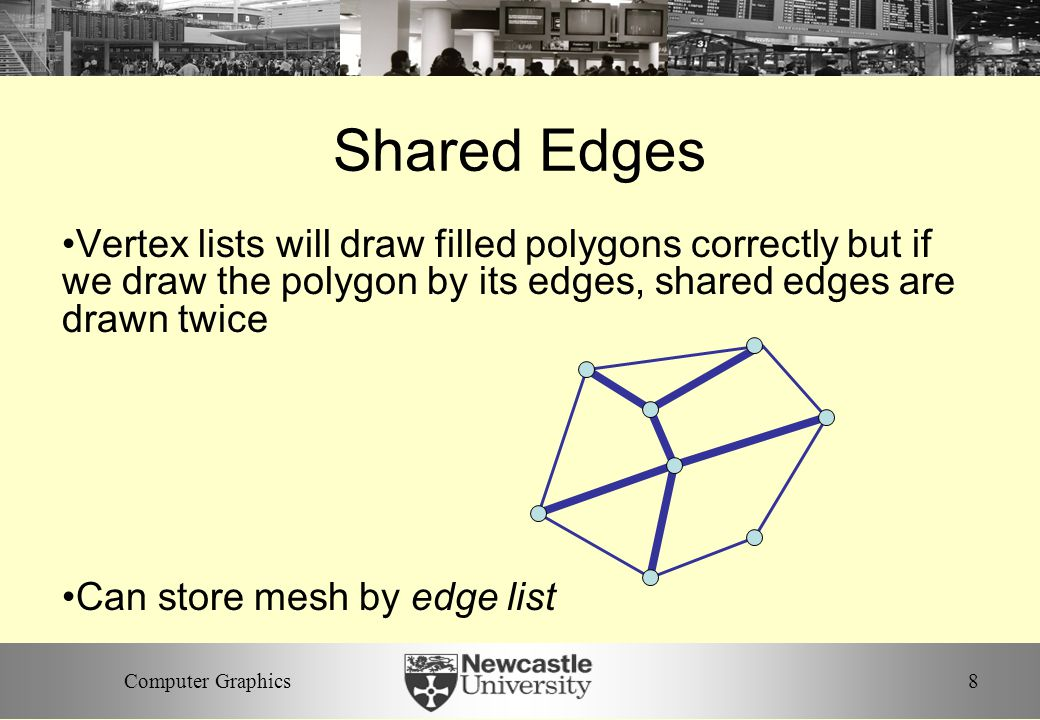 8Computer Graphics Shared Edges Vertex lists will draw filled polygons correctly but if we draw the polygon by its edges, shared edges are drawn twice Can store mesh by edge list