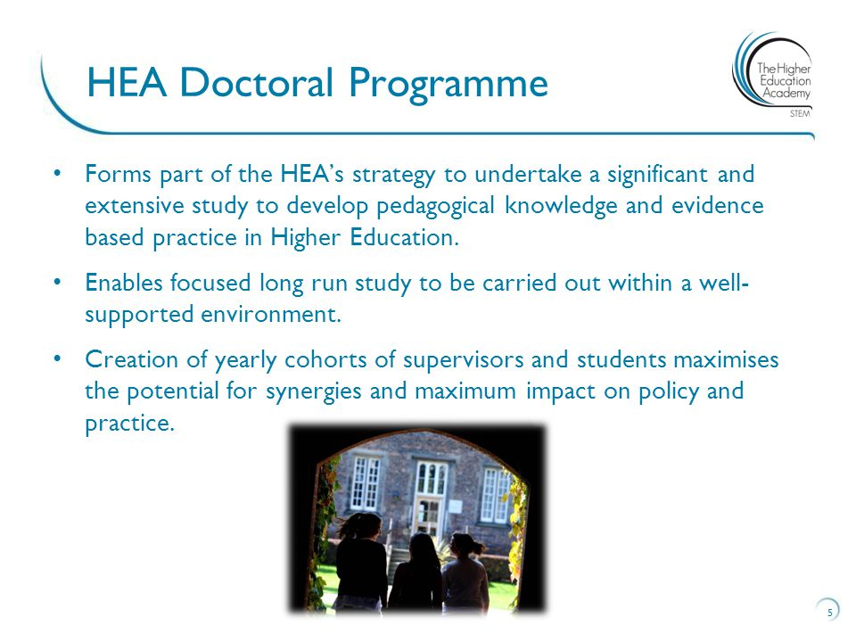 Forms part of the HEA's strategy to undertake a significant and extensive study to develop pedagogical knowledge and evidence based practice in Higher Education.