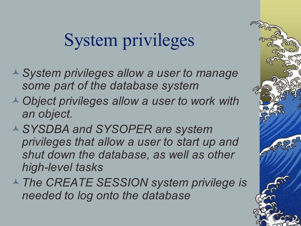 System privileges System privileges allow a user to manage some part of the database system Object privileges allow a user to work with an object.