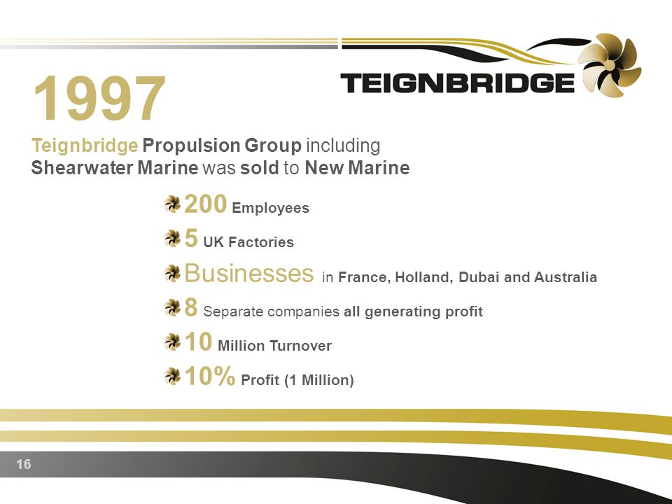 16 1997 Teignbridge Propulsion Group including Shearwater Marine was sold to New Marine 200 Employees 5 UK Factories Businesses in France, Holland, Dubai and Australia 8 Separate companies all generating profit 10 Million Turnover 10% Profit (1 Million)