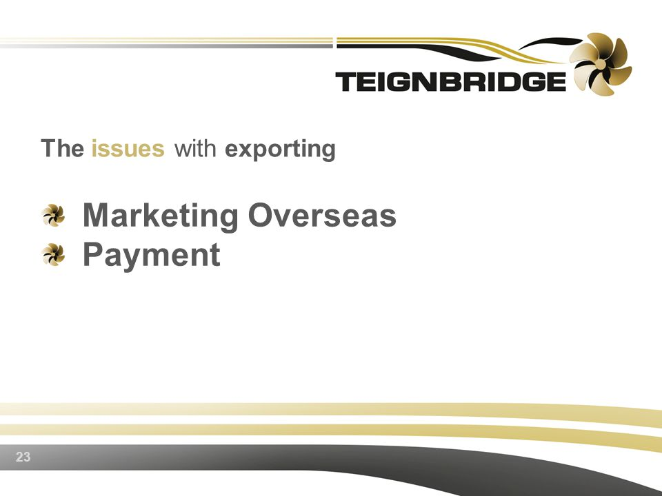 Marketing Overseas Payment 23 The issues with exporting