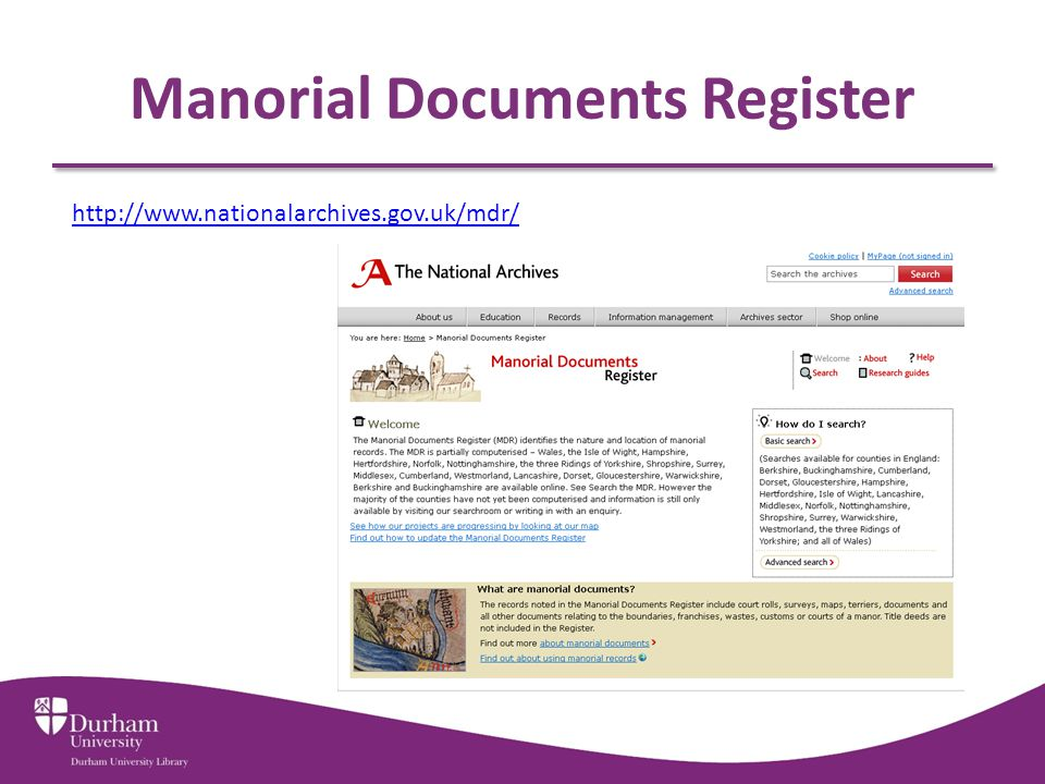 Manorial Documents Register http://www.nationalarchives.gov.uk/mdr/