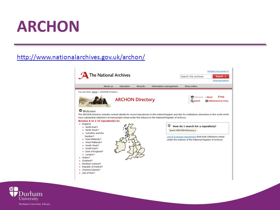 ARCHON http://www.nationalarchives.gov.uk/archon/