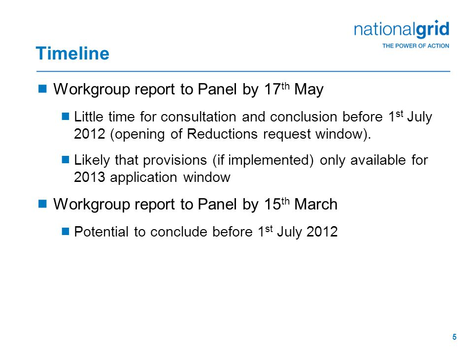5 Timeline  Workgroup report to Panel by 17 th May  Little time for consultation and conclusion before 1 st July 2012 (opening of Reductions request window).