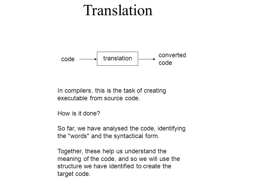 Translation code translation converted code In compilers, this is the task of creating executable from source code.