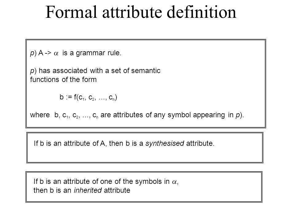 Formal attribute definition p) A ->  is a grammar rule.