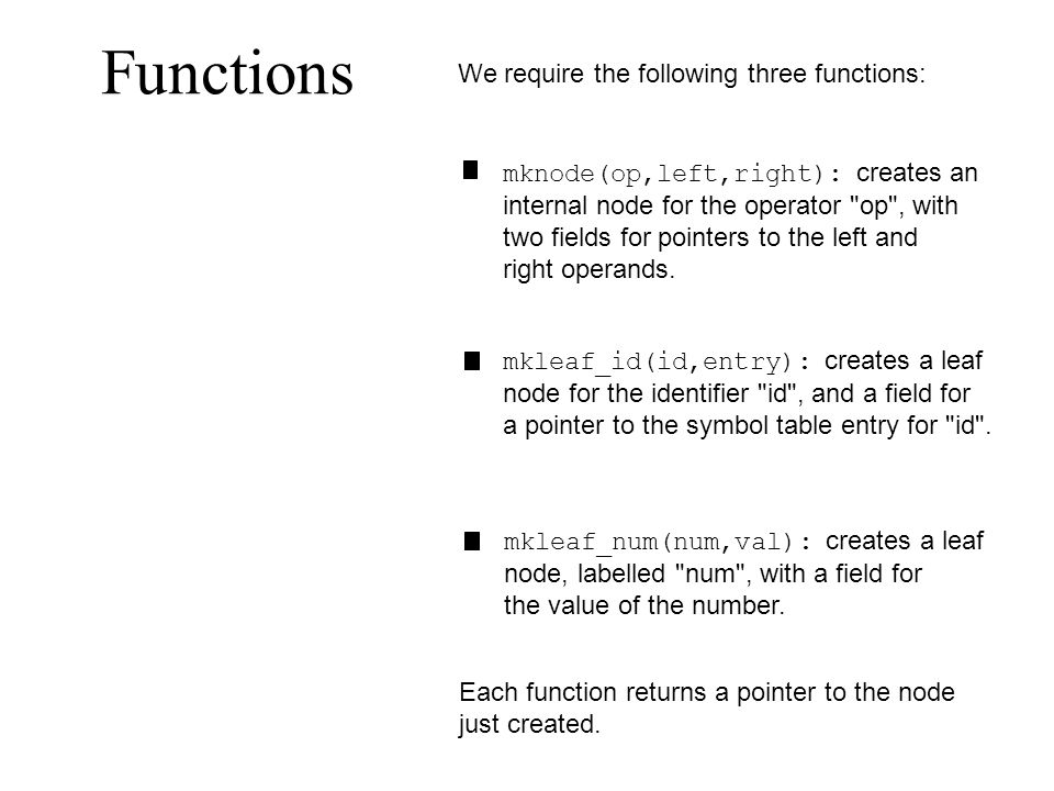 Functions We require the following three functions: mknode(op,left,right): creates an internal node for the operator op , with two fields for pointers to the left and right operands.