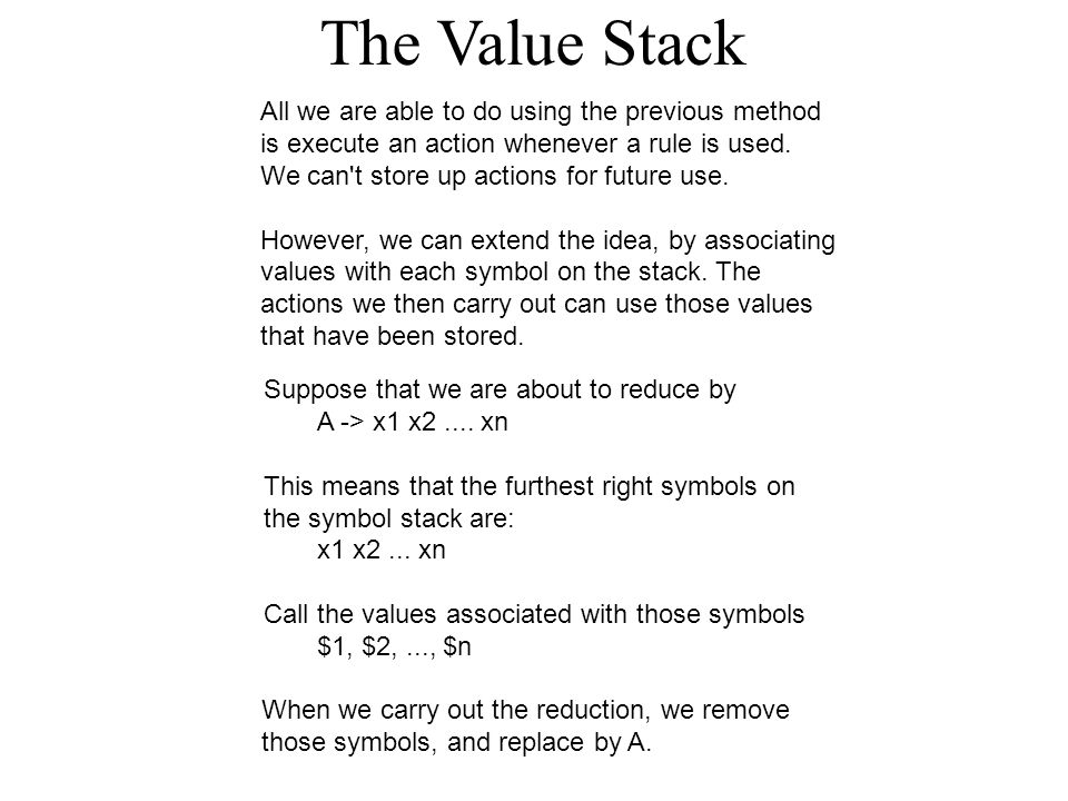 The Value Stack All we are able to do using the previous method is execute an action whenever a rule is used.