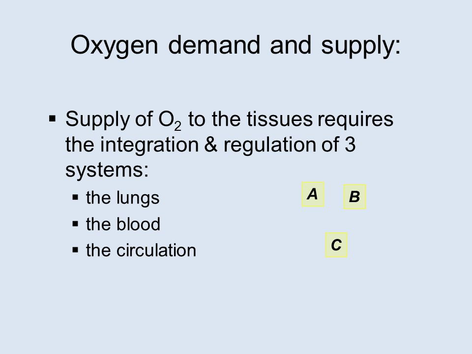 Oxygen demand and supply:  Supply of O 2 to the tissues requires the integration & regulation of 3 systems:  the lungs  the blood  the circulation A B C
