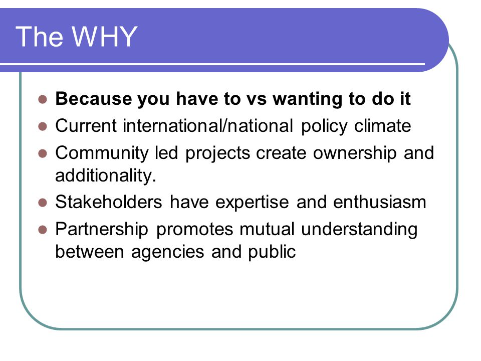 The WHY Because you have to vs wanting to do it Current international/national policy climate Community led projects create ownership and additionality.