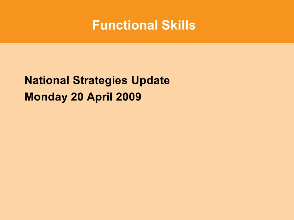 Functional Skills National Strategies Update Monday 20 April 2009