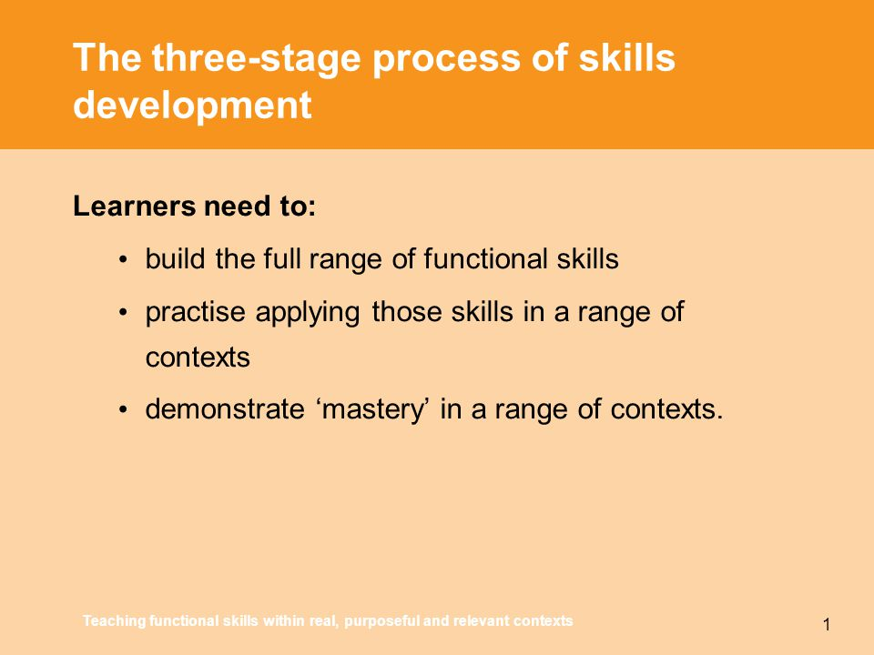 Teaching functional skills within real, purposeful and relevant contexts 1 The three-stage process of skills development Learners need to: build the full range of functional skills practise applying those skills in a range of contexts demonstrate 'mastery' in a range of contexts.