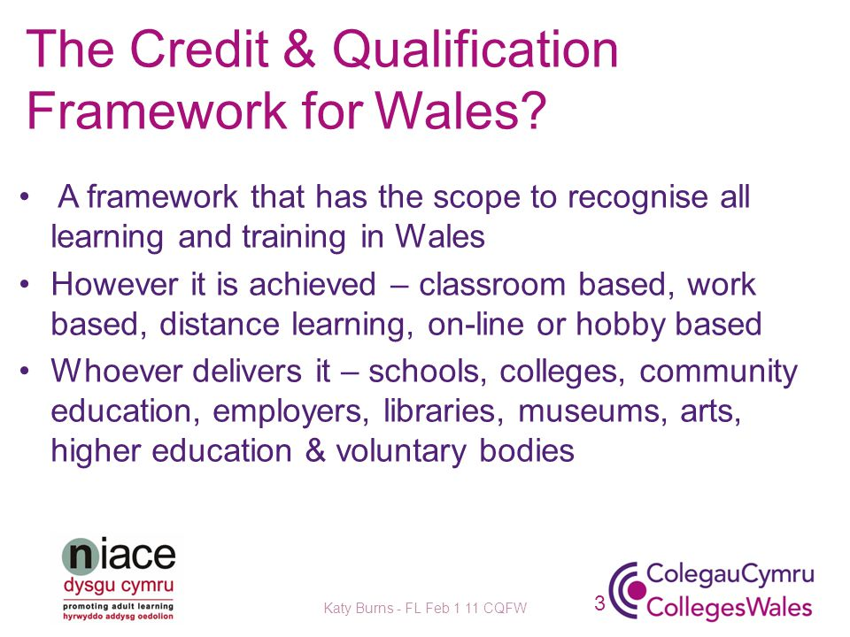 The Credit & Qualification Framework for Wales.