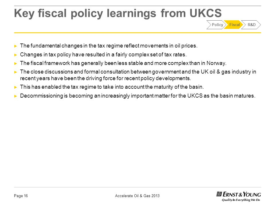 Key fiscal policy learnings from UKCS ► The fundamental changes in the tax regime reflect movements in oil prices.