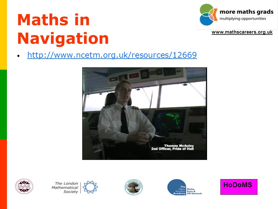 HoDoMS www.mathscareers.org.uk Maths in Navigation http://www.ncetm.org.uk/resources/12669