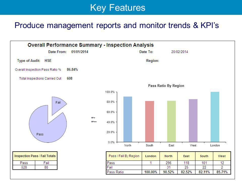 Produce management reports and monitor trends & KPI's Key Features