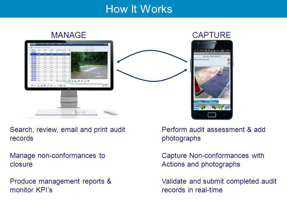 How It Works MANAGE Search, review, email and print audit records Manage non-conformances to closure Produce management reports & monitor KPI's CAPTURE Perform audit assessment & add photographs Capture Non-conformances with Actions and photographs Validate and submit completed audit records in real-time