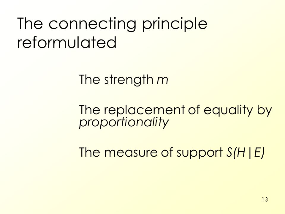 13 The connecting principle reformulated The strength m The replacement of equality by proportionality The measure of support S(H|E)