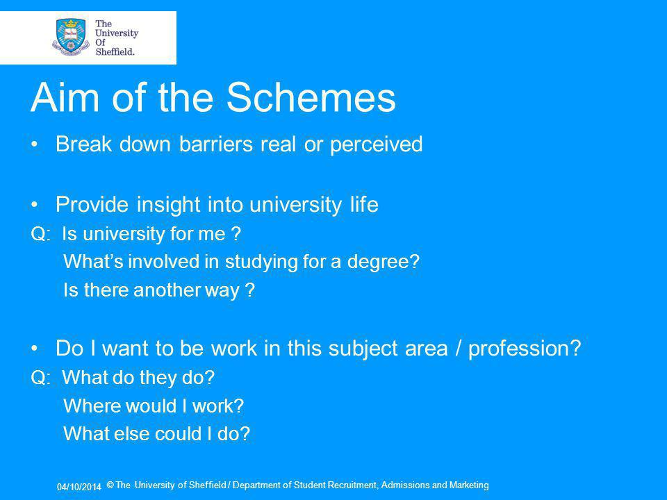 04/10/2014 © The University of Sheffield / Department of Student Recruitment, Admissions and Marketing Aim of the Schemes Break down barriers real or perceived Provide insight into university life Q: Is university for me .
