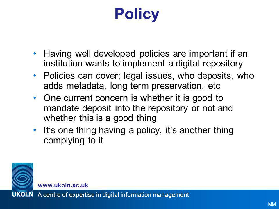 A centre of expertise in digital information management www.ukoln.ac.uk Legal Intellectual Property Rights (IPR) –Copyright –Other: database rights, moral rights, performers' rights, trademarks, patents Copyright –Who owns.