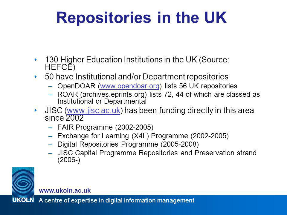 A centre of expertise in digital information management www.ukoln.ac.uk Institutional Repository more than just software/hardware… a university-based institutional repository is a set of services that a university offers to the members of its community for the management and dissemination of digital materials created by the institution and its community members.