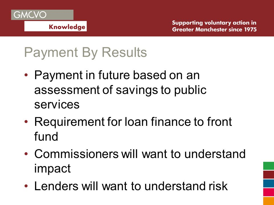 Payment By Results Payment in future based on an assessment of savings to public services Requirement for loan finance to front fund Commissioners will want to understand impact Lenders will want to understand risk