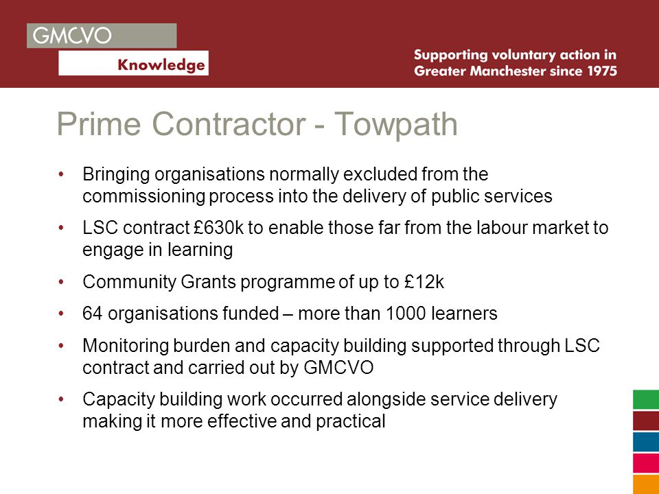 Prime Contractor - Towpath Bringing organisations normally excluded from the commissioning process into the delivery of public services LSC contract £630k to enable those far from the labour market to engage in learning Community Grants programme of up to £12k 64 organisations funded – more than 1000 learners Monitoring burden and capacity building supported through LSC contract and carried out by GMCVO Capacity building work occurred alongside service delivery making it more effective and practical