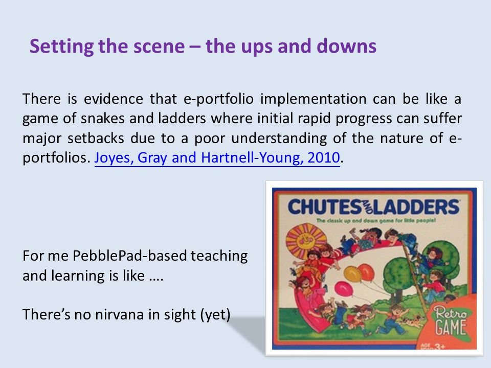 Setting the scene – the ups and downs There is evidence that e-portfolio implementation can be like a game of snakes and ladders where initial rapid progress can suffer major setbacks due to a poor understanding of the nature of e- portfolios.