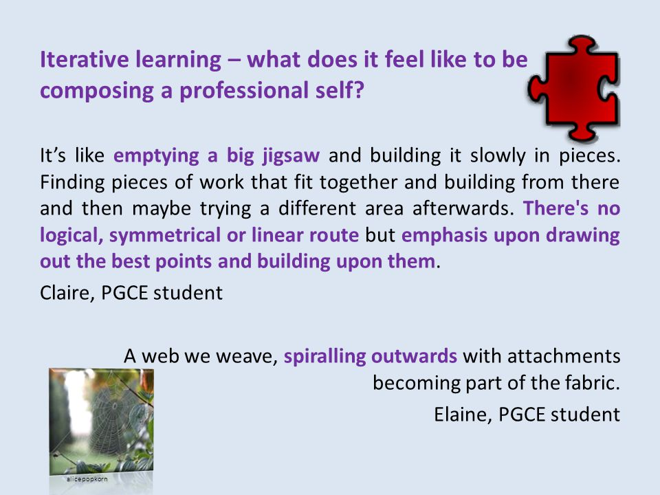 Iterative learning – what does it feel like to be composing a professional self.