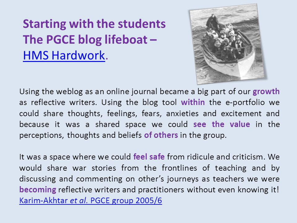Starting with the students The PGCE blog lifeboat – HMS HardworkHMS Hardwork.