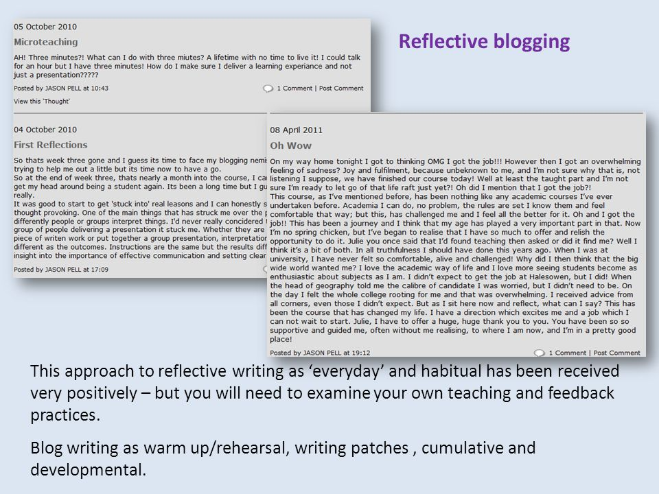 This approach to reflective writing as 'everyday' and habitual has been received very positively – but you will need to examine your own teaching and feedback practices.