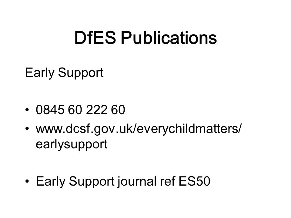 DfES Publications Early Support earlysupport Early Support journal ref ES50