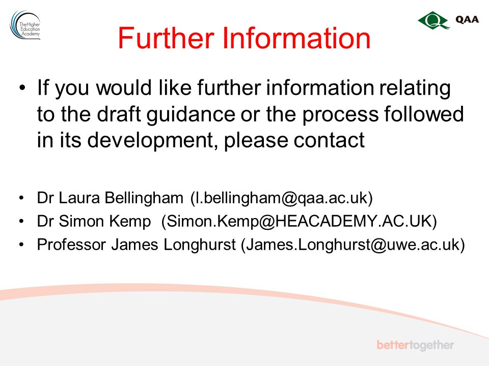 Further Information If you would like further information relating to the draft guidance or the process followed in its development, please contact Dr Laura Bellingham Dr Simon Kemp Professor James Longhurst