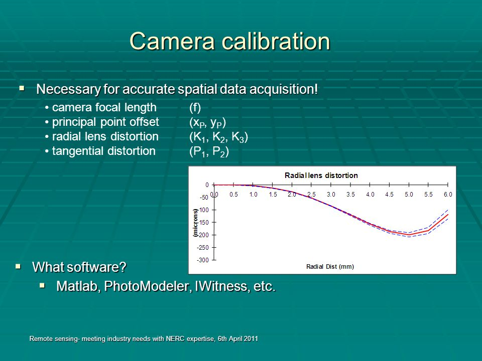 Camera calibration  Necessary for accurate spatial data acquisition.
