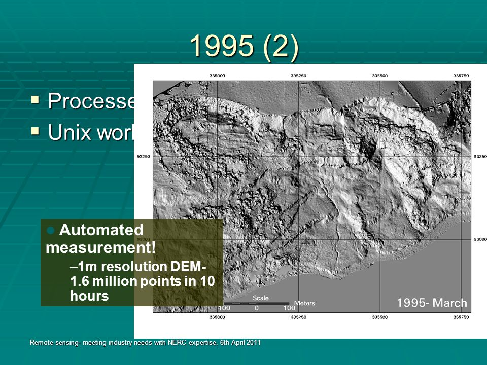 1995 (2)  Processed using digital photogrammetry  Unix workstation (£15K, 1995) Remote sensing- meeting industry needs with NERC expertise, 6th April 2011 Automated measurement.
