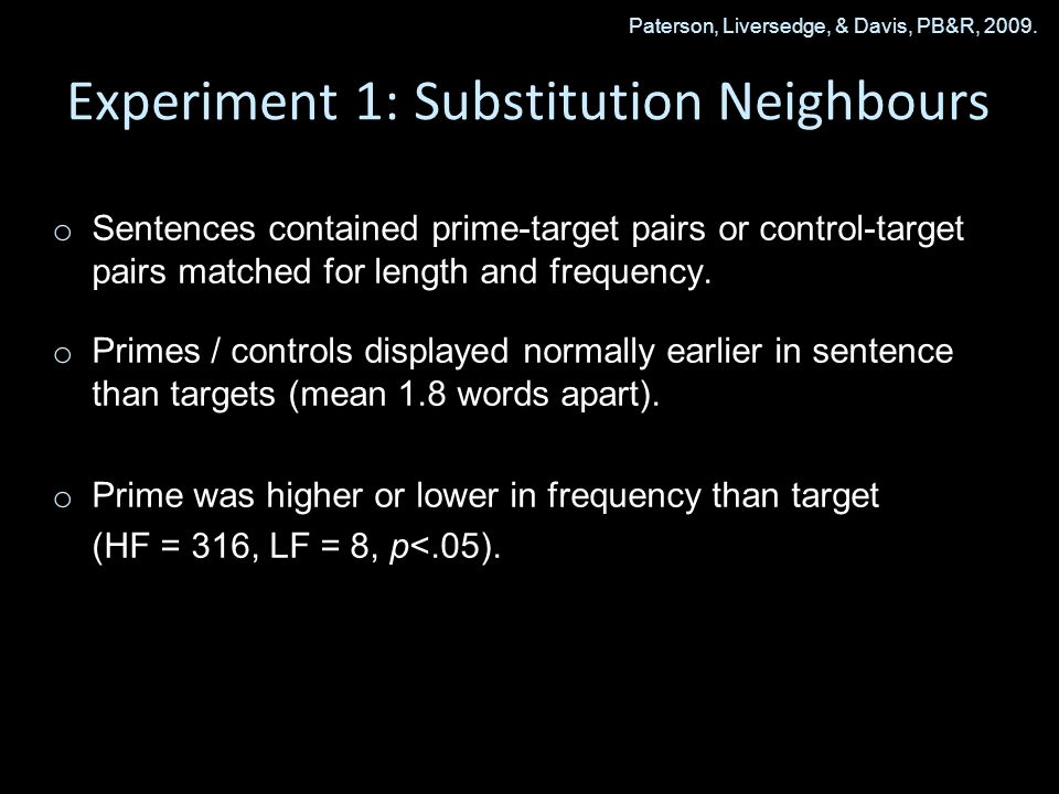 Experiment 1: Substitution Neighbours o o Sentences contained prime-target pairs or control-target pairs matched for length and frequency.