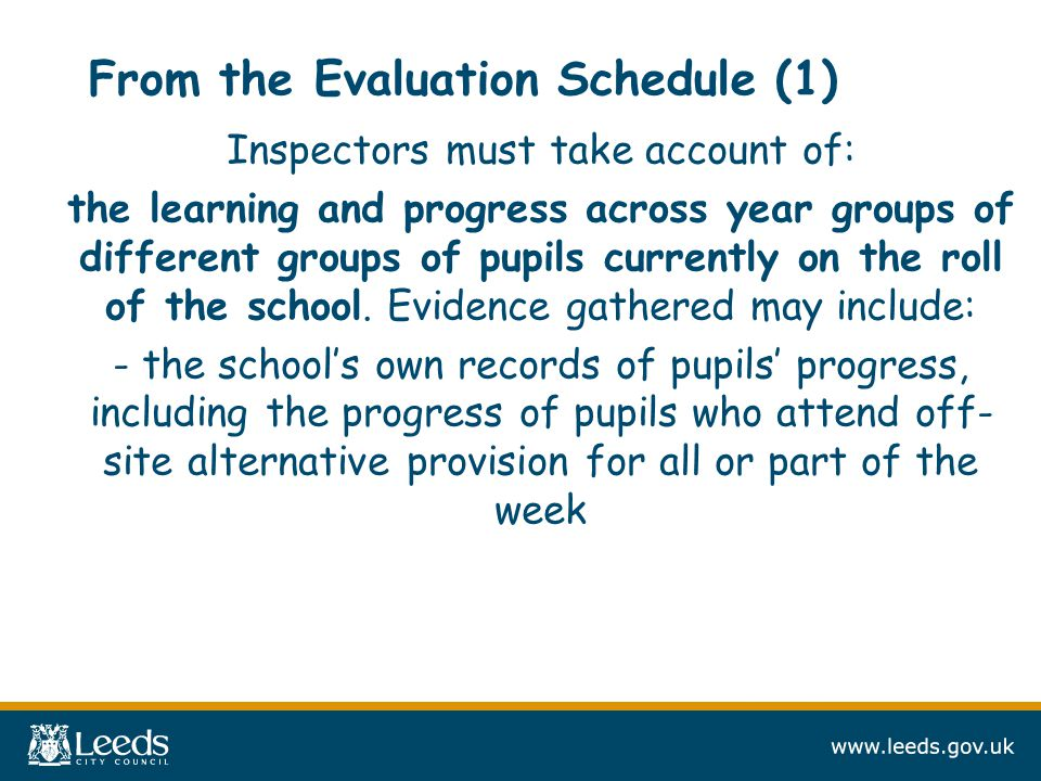 From the Evaluation Schedule (1) Inspectors must take account of: the learning and progress across year groups of different groups of pupils currently on the roll of the school.