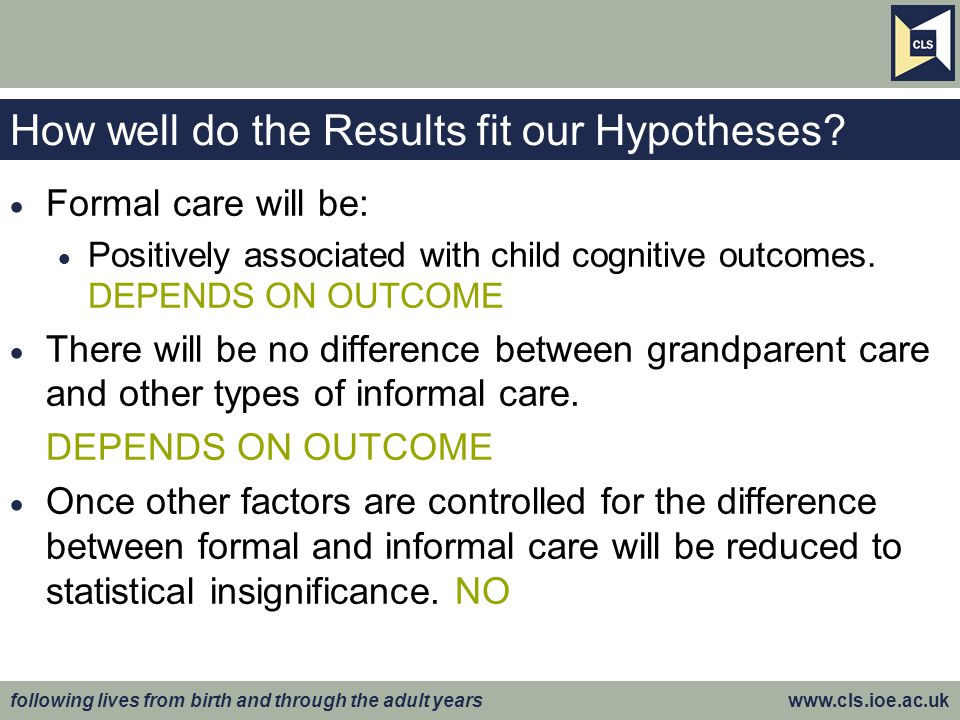 following lives from birth and through the adult years www.cls.ioe.ac.uk How well do the Results fit our Hypotheses.