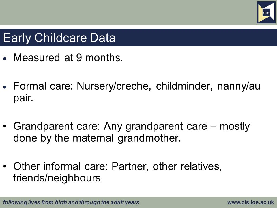 following lives from birth and through the adult years www.cls.ioe.ac.uk Early Childcare Data  Measured at 9 months.
