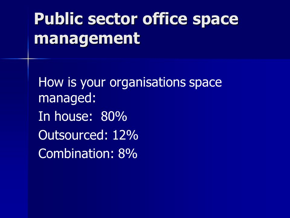 Public sector office space management Public sector office space management How is your organisations space managed: In house: 80% Outsourced: 12% Combination: 8%