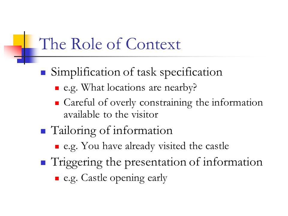 The Role of Context Simplification of task specification e.g.