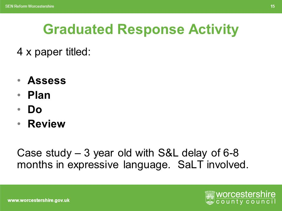www.worcestershire.gov.uk Graduated Response Activity 4 x paper titled: Assess Plan Do Review Case study – 3 year old with S&L delay of 6-8 months in expressive language.